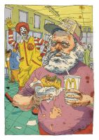 Karl Marx at Mac Donald's by Bonom
