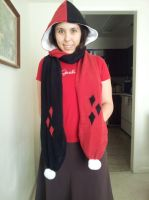 Harley Quinn-Inspired Scarf Hoodie Scoodie by craftysorceress