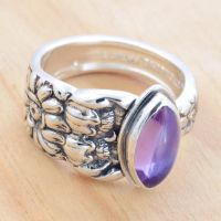 Spoon Ring with Amethyst Marq by metalsmitten