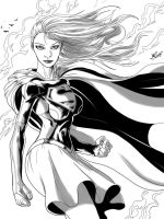 Supergirl Sketch B/W - MLG15 by Moislopez