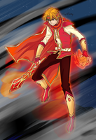 Coloring the lineart: The fire warrior by BiPinkBunny