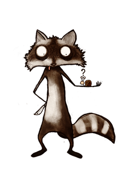 Racoon and snail by Fahrenheit1989