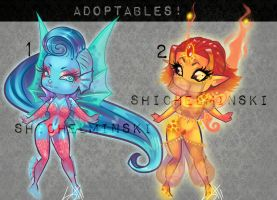 [Adoptables] Water and Fire Fairies by RavenNoodle