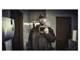Self at gas station washroom by wchild