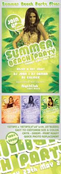 Summer Beach Party Flyer by femographi