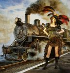 Steampunk And Steam Train by Roy3D