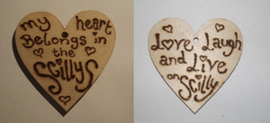 Custom made pyrography hanging designs by LilacFires