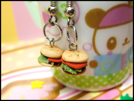 Tiny Burger Earrings II by GrandmaThunderpants
