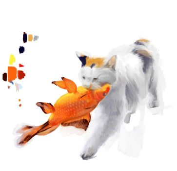 Cat and Koi, from reference by mo-yi