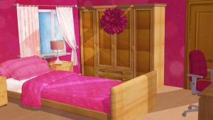 Anime Style Background - Girl Bedroom by FireSnake666