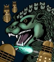 Godzilla vs the Daleks by Crocazill