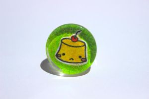 Hand drawn Pudding Glass Ring by PinkChocolate14