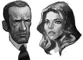 Oscar Goldman and Jamie Sommers sketch by AldgerRelpa