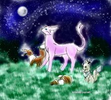 Espeon and Family by Wildfrost24