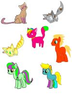 Cat and Pony leftover adopts by handcuffs4ever
