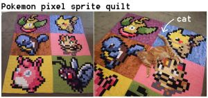 Pokemon Pixel quilt by SilkenCat
