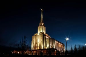 Oquirrh Mountain Temple  Winter's Evening by Ericseye