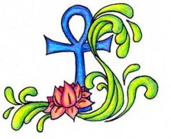 Ankh Lotus tattoo by arien87