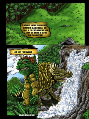 Attack On Monster Island Page 1, Commission by kaijukid