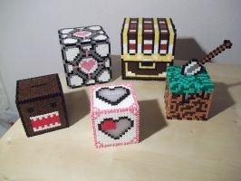 3D boxes made with hama beads by capricornc5