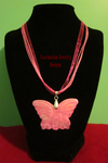 Pink Butterfly Ribbon Necklace by BloodRed-Orchid