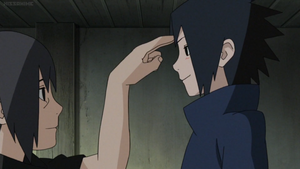 Itachi and Sasuke Poke On The Forehead by weissdrum