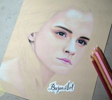 Emma Watson drawing WIP by Bajan-Art