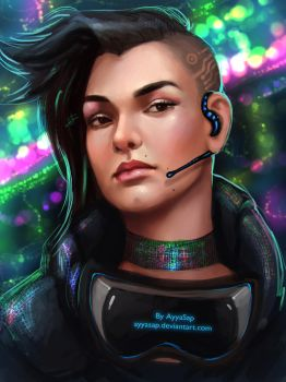 cyberpunk girl by AyyaSAP