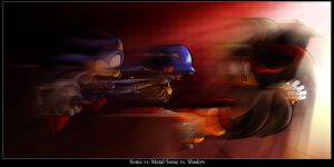Sonic vs Metal sonic vs Shadow by vissroid