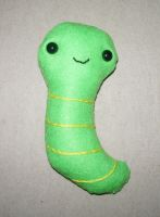 Green Baby Worm Plushie by kiddomerriweather