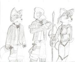 Star Fox Characters Sketch by PieMan24601