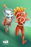 Ketchup and Fries by Arqueart