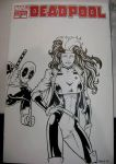 Deadpool + Rogue - Sketch Cover by tonyperna