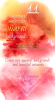 11 Handmade Warm Watercolor Backgrounds by saimana