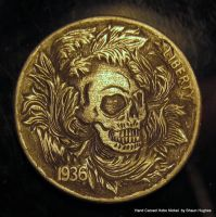 Ornate Floral Scrollwork Skull Coin Carving by shaun750