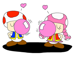 Toad and Toadette Blowing Bubble Gum Better by PokeGirlRULES