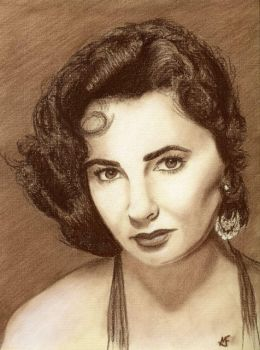 Elizabeth Taylor in Sepia by marcusfearnley