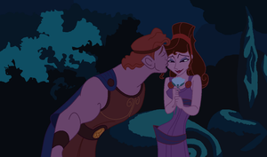 Hercules and Meg - Flower kiss by ComplainingBastard