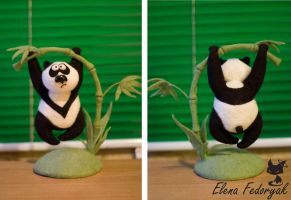Felted funny panda by KittenBlackUA