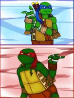 Raph and Leo Face-Off by xXStein