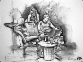 Group Sketch in Charcoal by kabutali