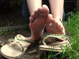 Muddy Flip Flop Soles by Foxy-Feet