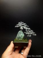 Root-oover-rock wire bonsai tree by Ken To by KenToArt