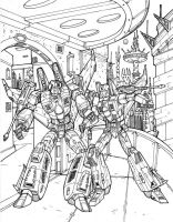 Starscream and  Phoenix inked by Charger426