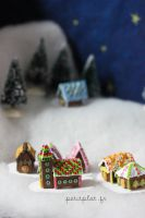 Small Village of Miniature Gingerbread Houses by PetitPlat