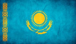 Kazakhstan Grunge Flag by think0