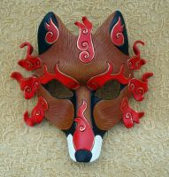 Flaming Red Fox Kitsune Mask by merimask