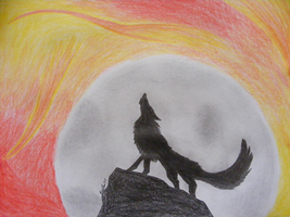 Wolf at the Moon by NoviNowotny