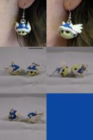 Blue Shell Earrings Mario Kart by ChibiSilverWings