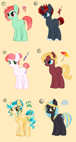 Adoptable Ponies by candy-behemoth